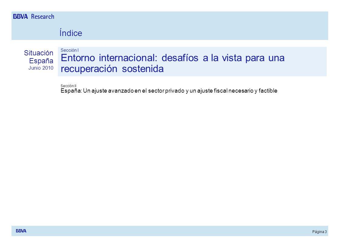 Página 3 Sección I Entorno internacional: desafíos a la vista para una recuperación sostenida Sección II España: Un ajuste avanzado en el sector priva