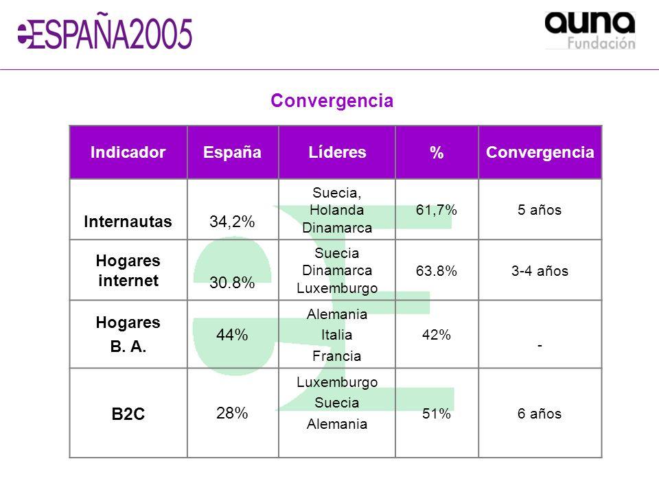 IndicadorEspañaLíderes%Convergencia Internautas34,2% Suecia, Holanda Dinamarca 61,7%5 años Hogares internet 30.8% Suecia Dinamarca Luxemburgo 63.8%3-4