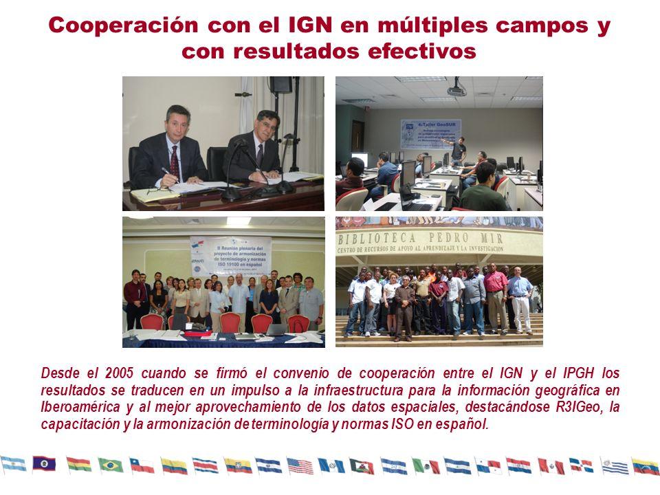 Cooperación con el IGN en múltiples campos y con resultados efectivos Desde el 2005 cuando se firmó el convenio de cooperación entre el IGN y el IPGH