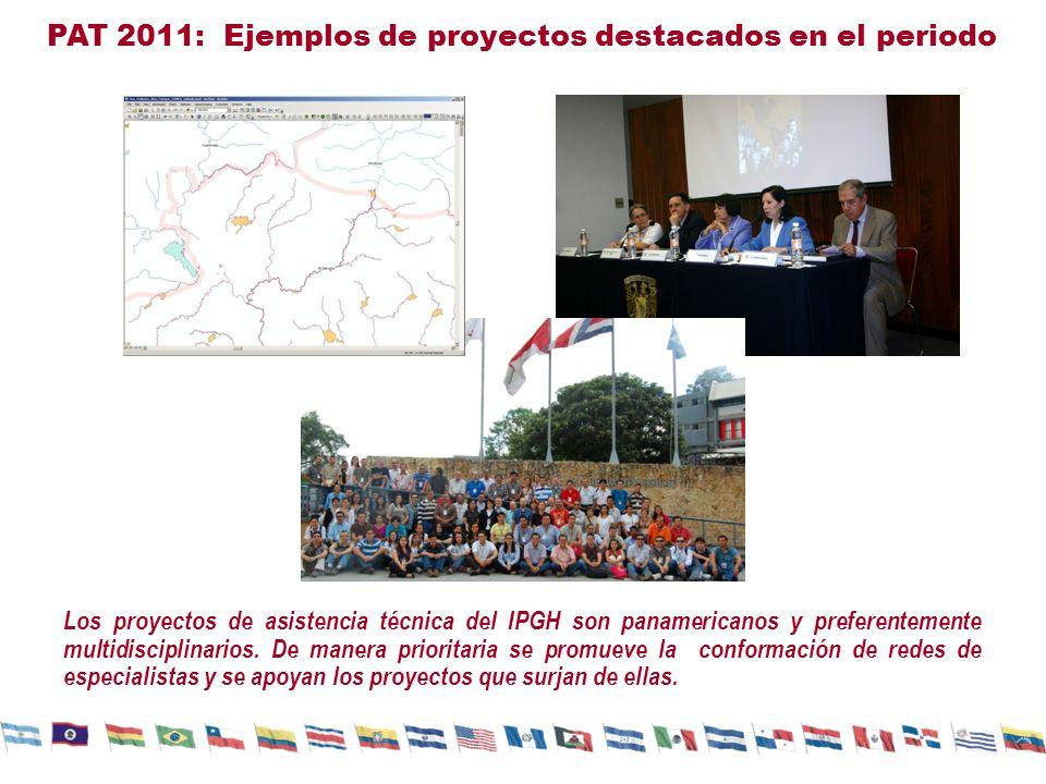 PAT 2011: Ejemplos de proyectos destacados en el periodo Los proyectos de asistencia técnica del IPGH son panamericanos y preferentemente multidiscipl