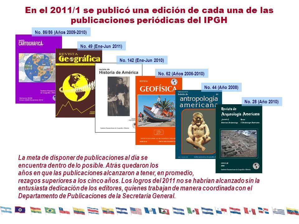 En el 2011/1 se publicó una edición de cada una de las publicaciones periódicas del IPGH La meta de disponer de publicaciones al día se encuentra dent