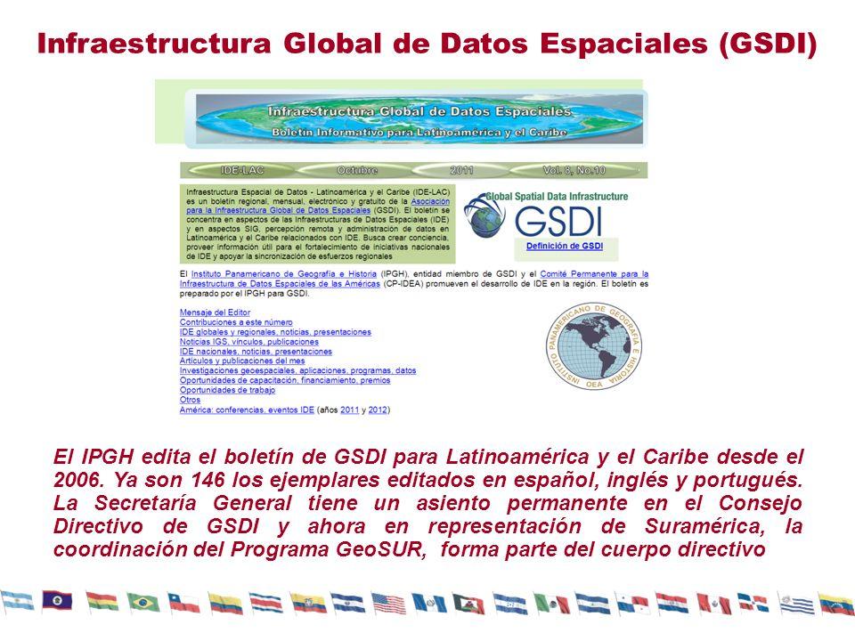Infraestructura Global de Datos Espaciales (GSDI) El IPGH edita el boletín de GSDI para Latinoamérica y el Caribe desde el 2006. Ya son 146 los ejempl