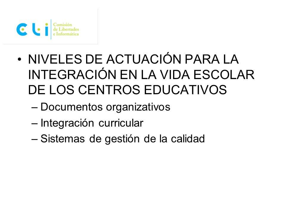 NIVELES DE ACTUACIÓN PARA LA INTEGRACIÓN EN LA VIDA ESCOLAR DE LOS CENTROS EDUCATIVOS –Documentos organizativos –Integración curricular –Sistemas de g