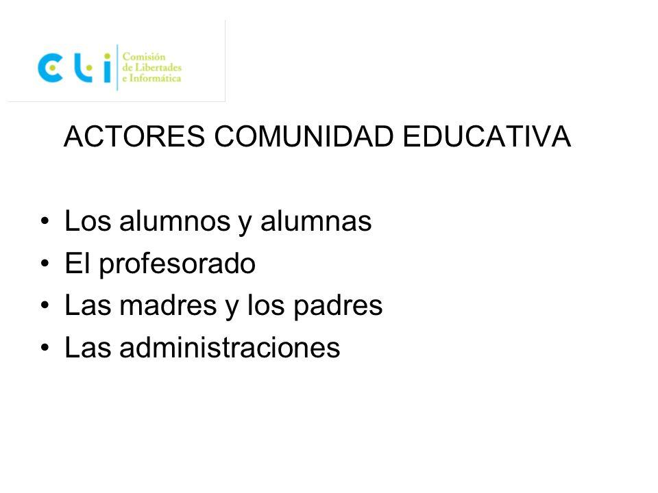ACTORES COMUNIDAD EDUCATIVA Los alumnos y alumnas El profesorado Las madres y los padres Las administraciones