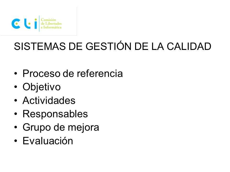 SISTEMAS DE GESTIÓN DE LA CALIDAD Proceso de referencia Objetivo Actividades Responsables Grupo de mejora Evaluación