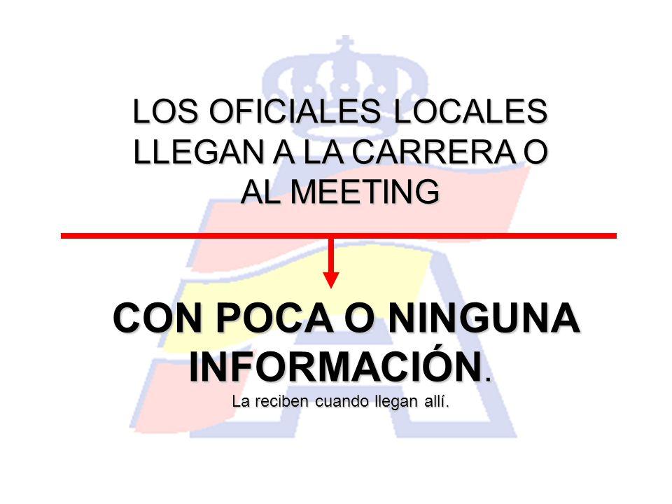 LOS OFICIALES LOCALES LLEGAN A LA CARRERA O AL MEETING CON POCA O NINGUNA INFORMACIÓN. La reciben cuando llegan allí.