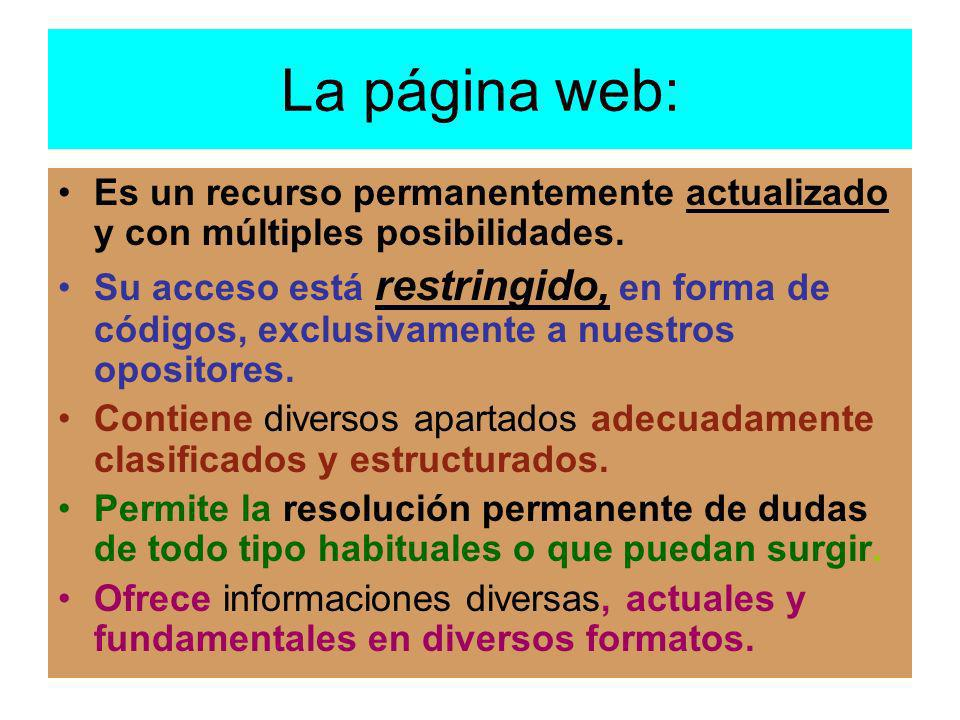 La página web: Es un recurso permanentemente actualizado y con múltiples posibilidades.