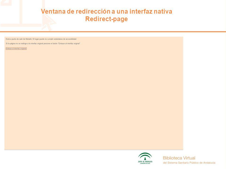 Ventana de redirección a una interfaz nativa Redirect-page
