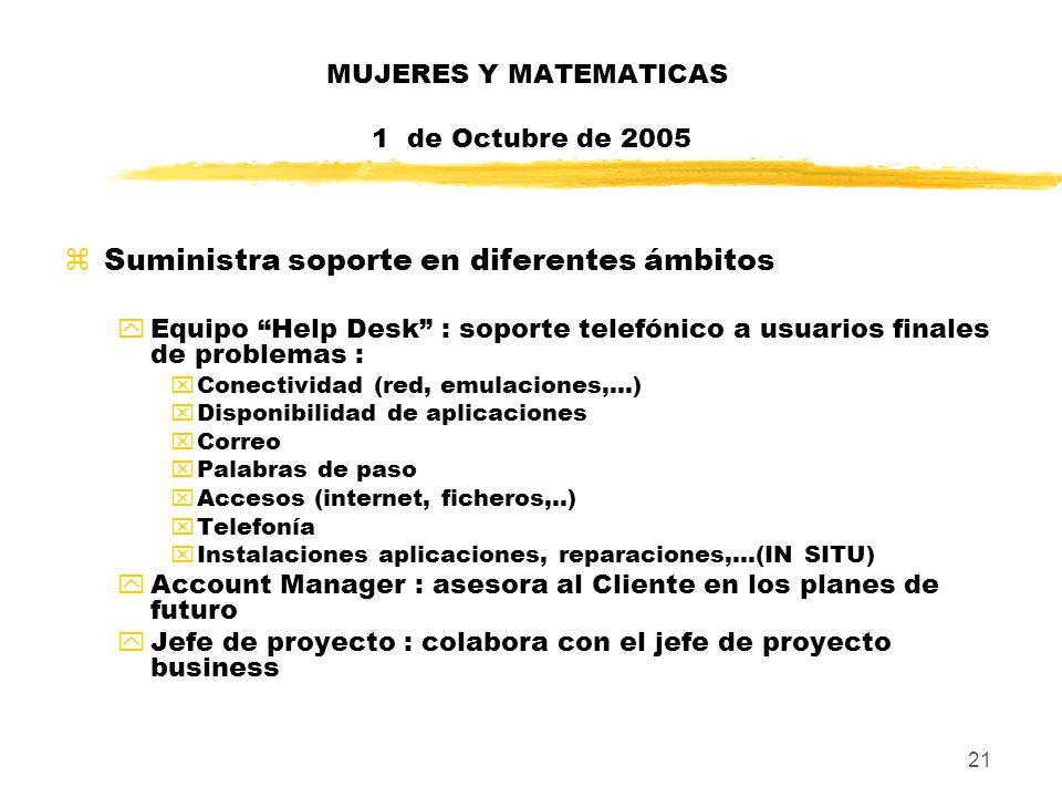 21 MUJERES Y MATEMATICAS 1 de Octubre de 2005 zSuministra soporte en diferentes ámbitos yEquipo Help Desk : soporte telefónico a usuarios finales de p