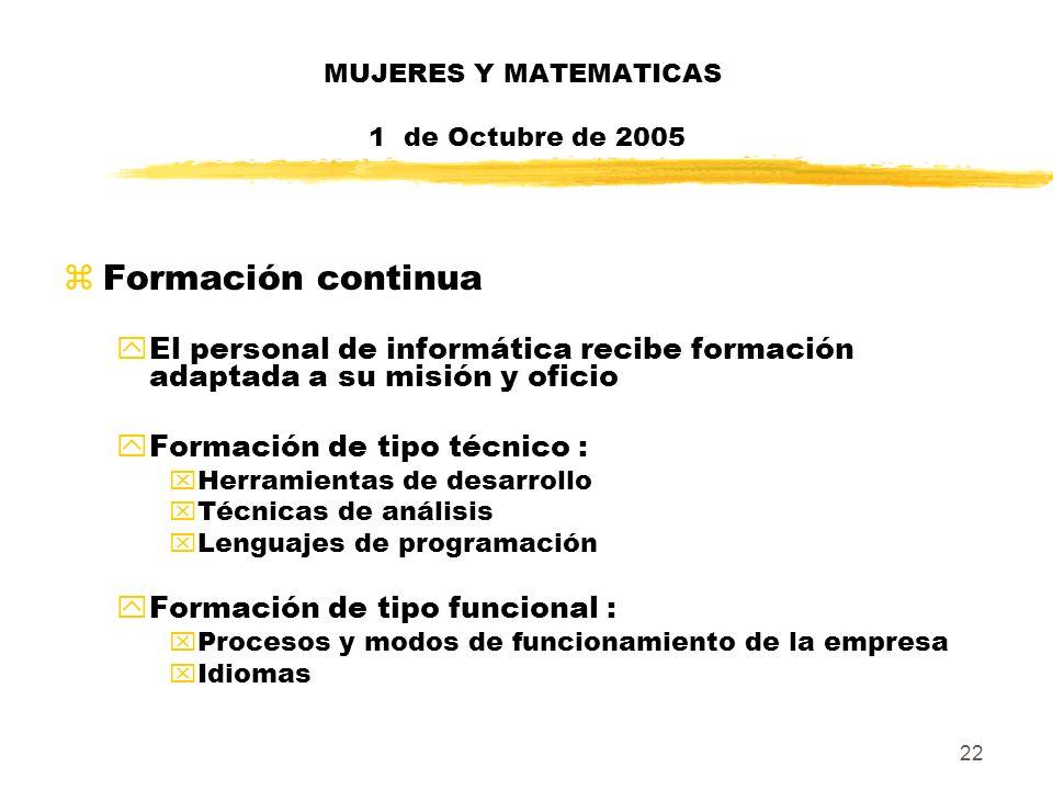22 MUJERES Y MATEMATICAS 1 de Octubre de 2005 zFormación continua yEl personal de informática recibe formación adaptada a su misión y oficio yFormació