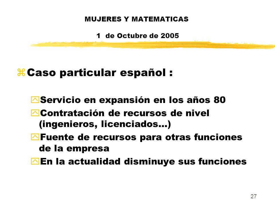 27 MUJERES Y MATEMATICAS 1 de Octubre de 2005 zCaso particular español : yServicio en expansión en los años 80 yContratación de recursos de nivel (ing
