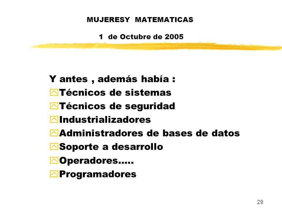 29 MUJERESY MATEMATICAS 1 de Octubre de 2005 Y antes, además había : yTécnicos de sistemas yTécnicos de seguridad yIndustrializadores yAdministradores