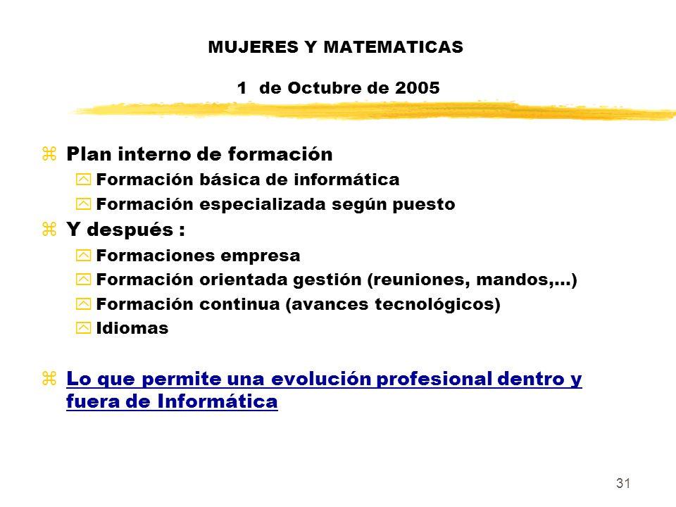 31 MUJERES Y MATEMATICAS 1 de Octubre de 2005 zPlan interno de formación yFormación básica de informática yFormación especializada según puesto zY des