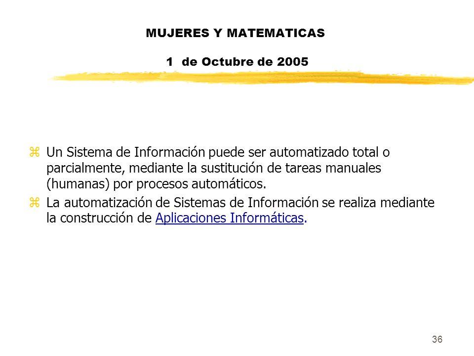 36 MUJERES Y MATEMATICAS 1 de Octubre de 2005 zUn Sistema de Información puede ser automatizado total o parcialmente, mediante la sustitución de tarea