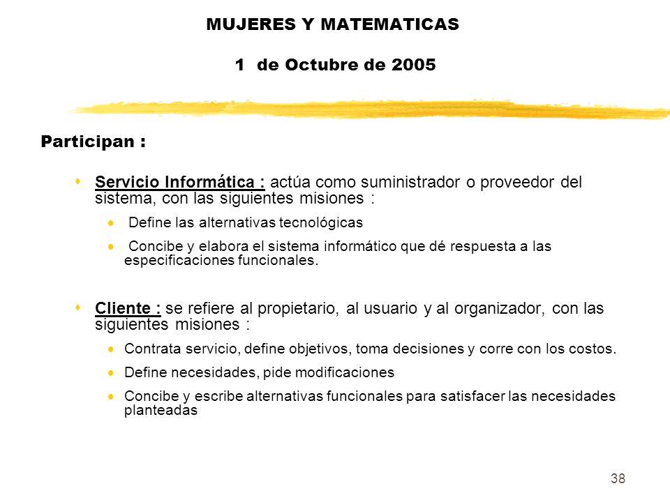 38 MUJERES Y MATEMATICAS 1 de Octubre de 2005 Participan : sServicio Informática : actúa como suministrador o proveedor del sistema, con las siguiente