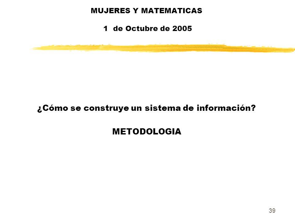 39 MUJERES Y MATEMATICAS 1 de Octubre de 2005 ¿Cómo se construye un sistema de información? METODOLOGIA