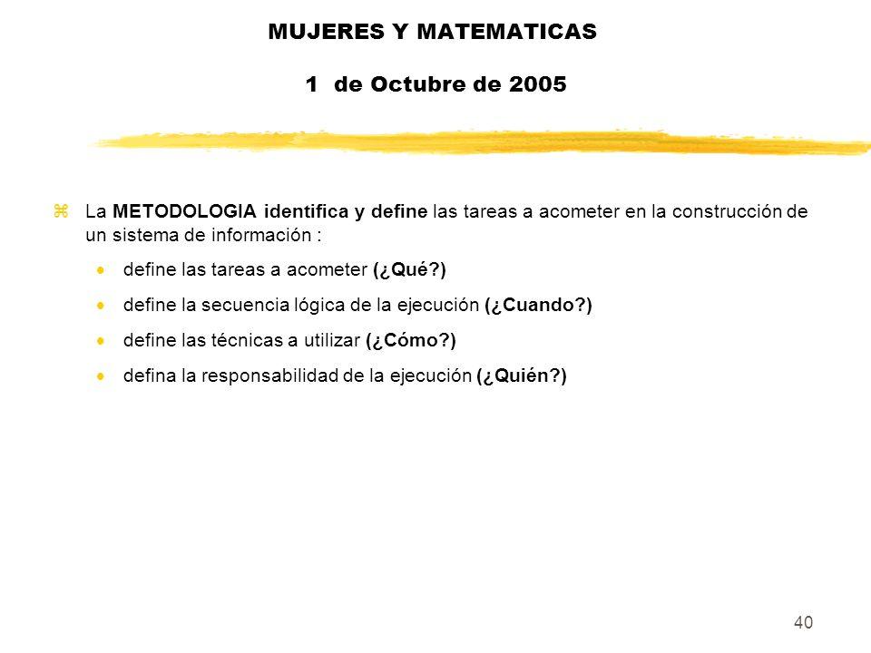 40 MUJERES Y MATEMATICAS 1 de Octubre de 2005 zLa METODOLOGIA identifica y define las tareas a acometer en la construcción de un sistema de informació
