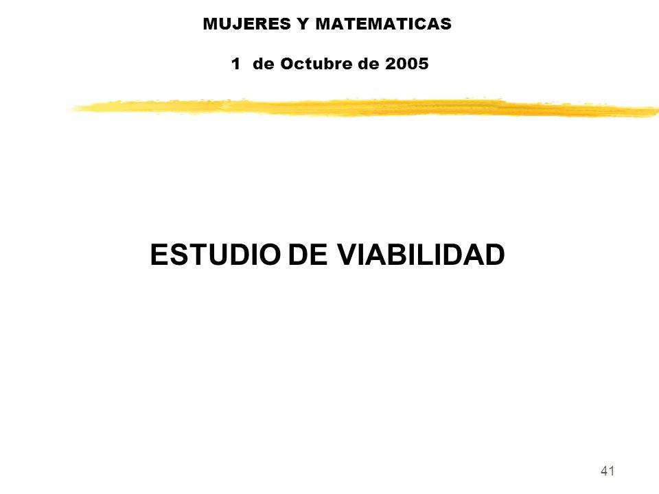 41 MUJERES Y MATEMATICAS 1 de Octubre de 2005 ESTUDIO DE VIABILIDAD