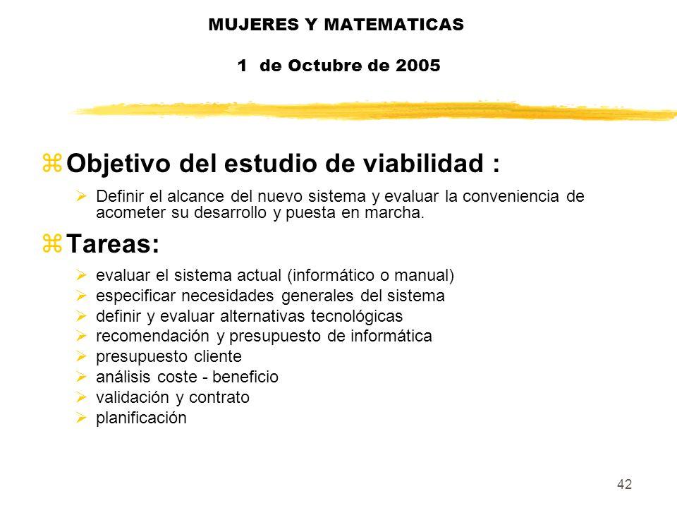 42 MUJERES Y MATEMATICAS 1 de Octubre de 2005 zObjetivo del estudio de viabilidad : Definir el alcance del nuevo sistema y evaluar la conveniencia de