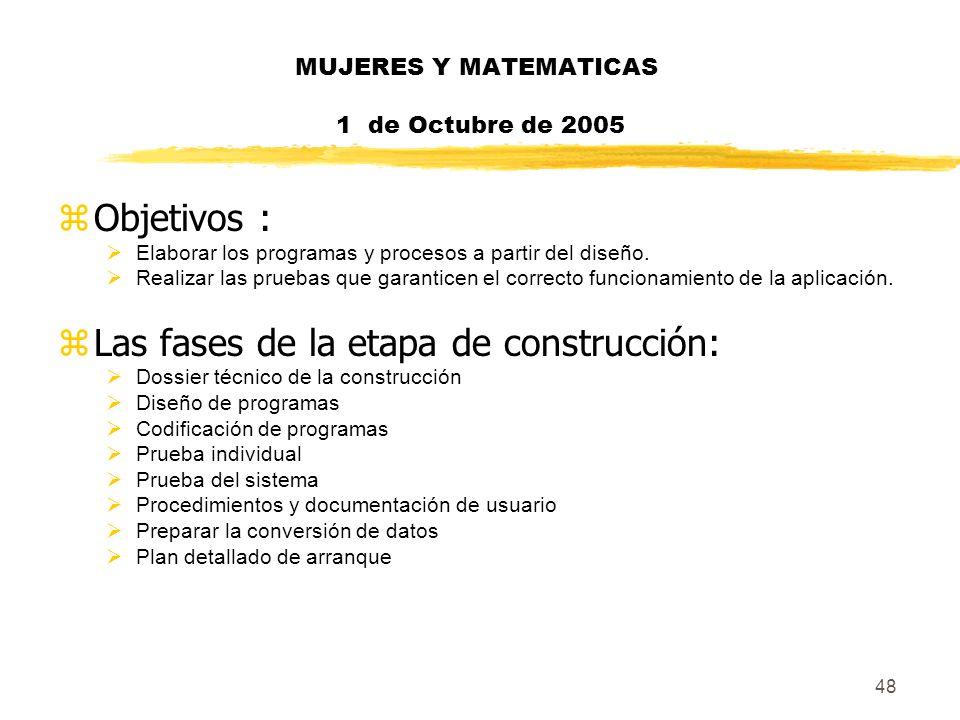 48 MUJERES Y MATEMATICAS 1 de Octubre de 2005 zObjetivos : Elaborar los programas y procesos a partir del diseño. Realizar las pruebas que garanticen