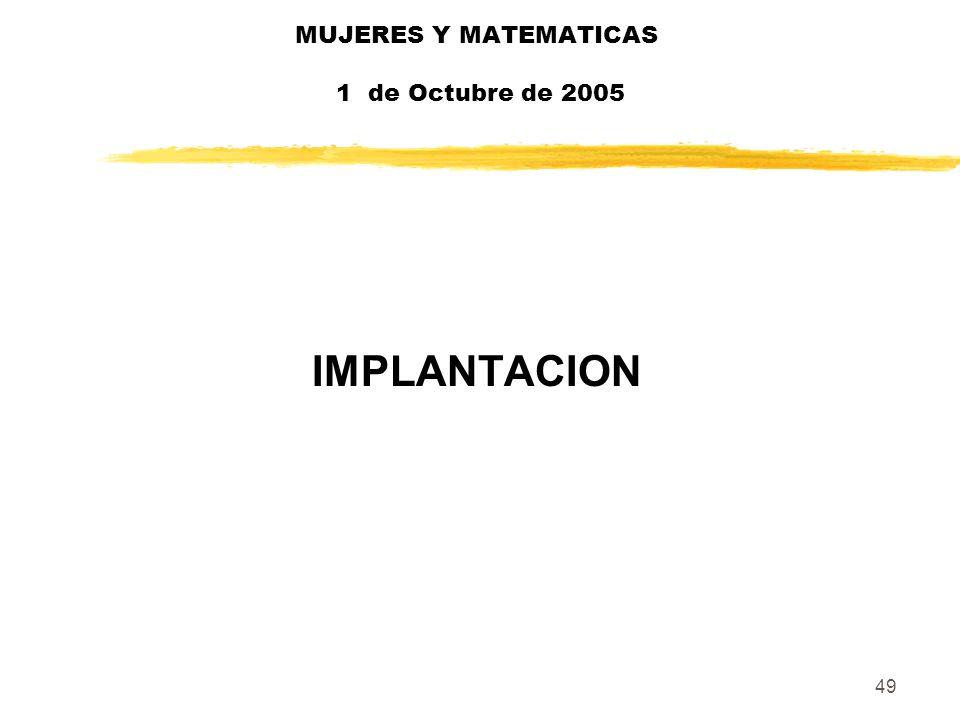 49 MUJERES Y MATEMATICAS 1 de Octubre de 2005 IMPLANTACION