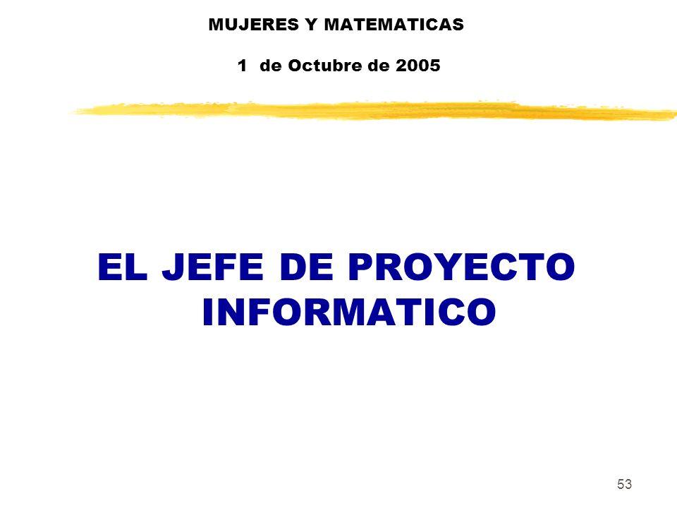 53 MUJERES Y MATEMATICAS 1 de Octubre de 2005 EL JEFE DE PROYECTO INFORMATICO