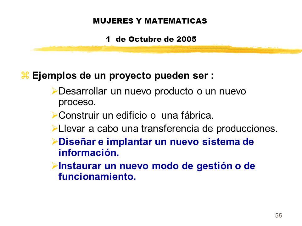 55 MUJERES Y MATEMATICAS 1 de Octubre de 2005 zEjemplos de un proyecto pueden ser : Desarrollar un nuevo producto o un nuevo proceso. Construir un edi