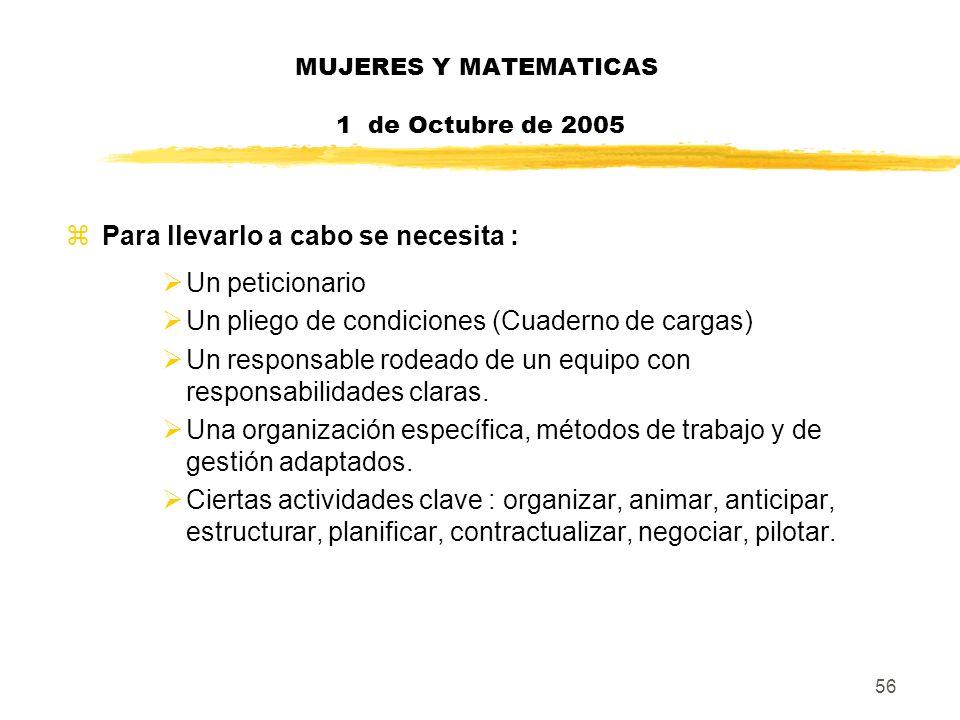 56 MUJERES Y MATEMATICAS 1 de Octubre de 2005 zPara llevarlo a cabo se necesita : Un peticionario Un pliego de condiciones (Cuaderno de cargas) Un res