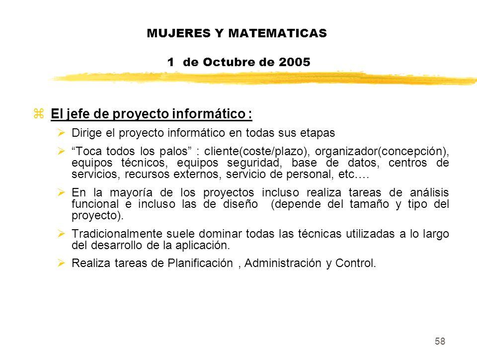 58 MUJERES Y MATEMATICAS 1 de Octubre de 2005 zEl jefe de proyecto informático : Dirige el proyecto informático en todas sus etapas Toca todos los pal