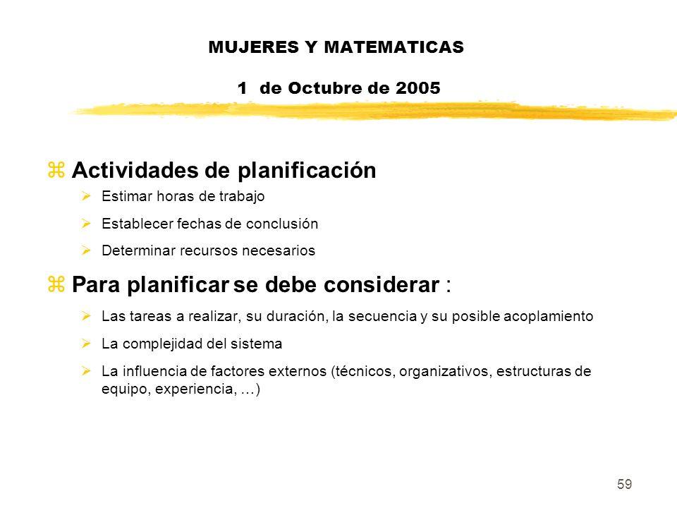 59 MUJERES Y MATEMATICAS 1 de Octubre de 2005 zActividades de planificación Estimar horas de trabajo Establecer fechas de conclusión Determinar recurs