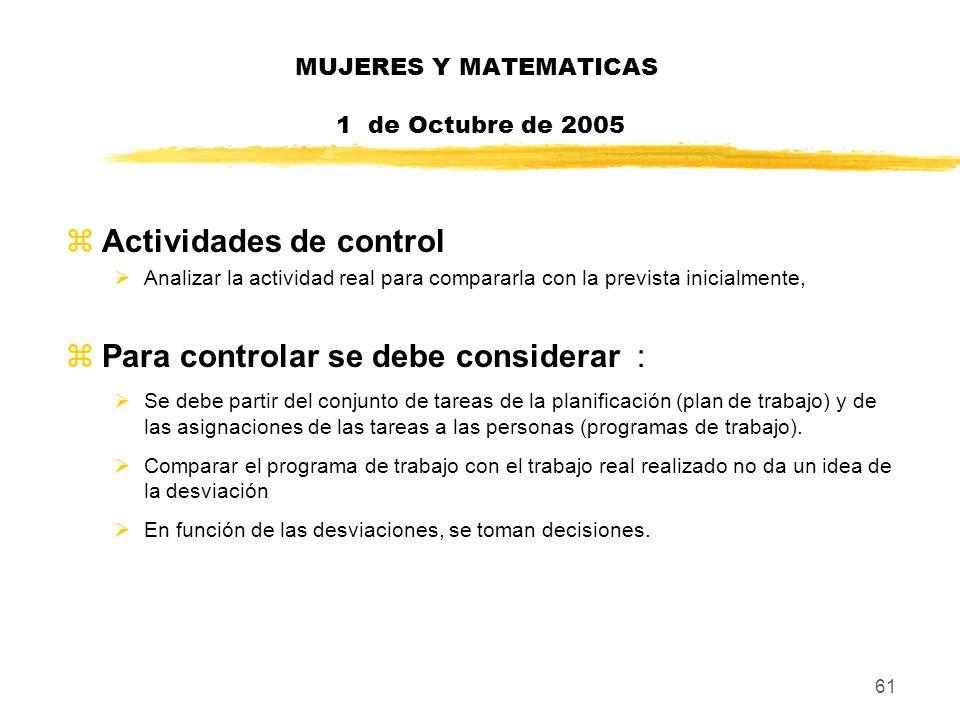 61 MUJERES Y MATEMATICAS 1 de Octubre de 2005 zActividades de control Analizar la actividad real para compararla con la prevista inicialmente, zPara c