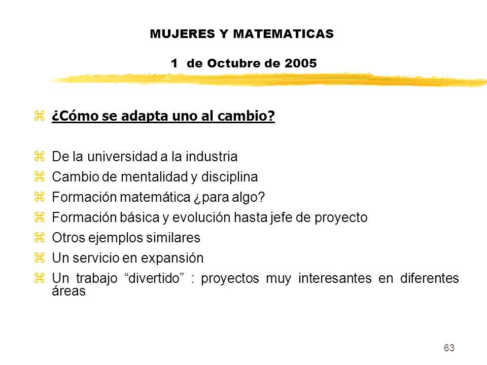63 MUJERES Y MATEMATICAS 1 de Octubre de 2005 z¿Cómo se adapta uno al cambio? zDe la universidad a la industria zCambio de mentalidad y disciplina zFo