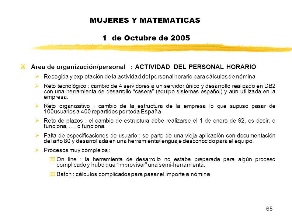 65 MUJERES Y MATEMATICAS 1 de Octubre de 2005 zArea de organización/personal : ACTIVIDAD DEL PERSONAL HORARIO Recogida y explotación de la actividad d