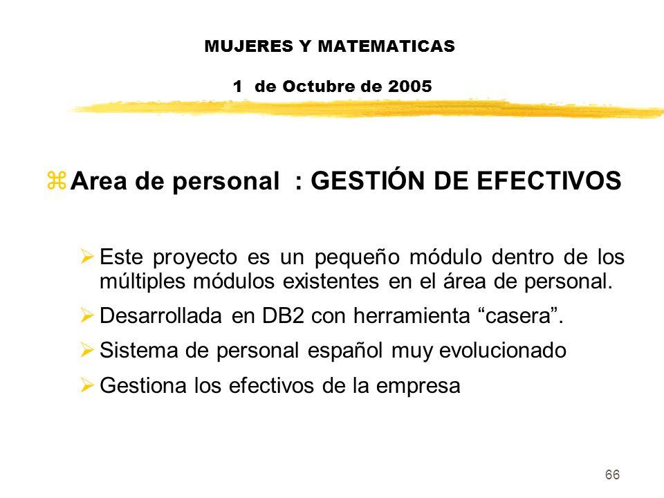 66 MUJERES Y MATEMATICAS 1 de Octubre de 2005 zArea de personal : GESTIÓN DE EFECTIVOS Este proyecto es un pequeño módulo dentro de los múltiples módu