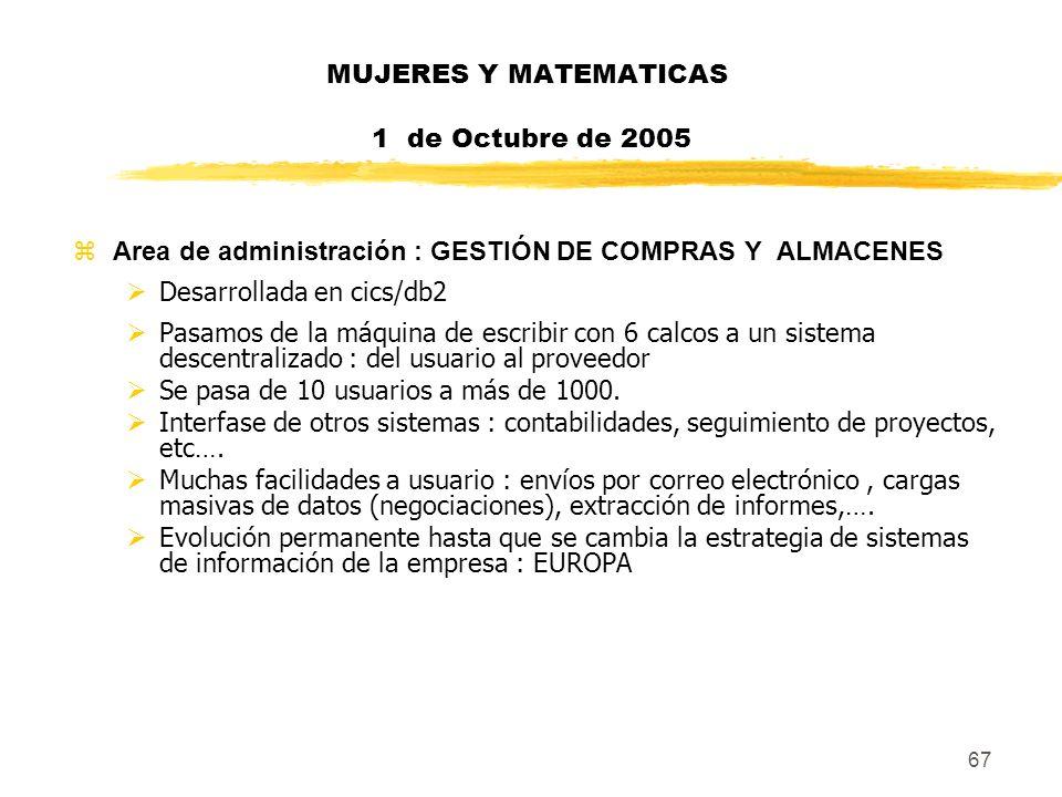 67 MUJERES Y MATEMATICAS 1 de Octubre de 2005 zArea de administración : GESTIÓN DE COMPRAS Y ALMACENES Desarrollada en cics/db2 Pasamos de la máquina