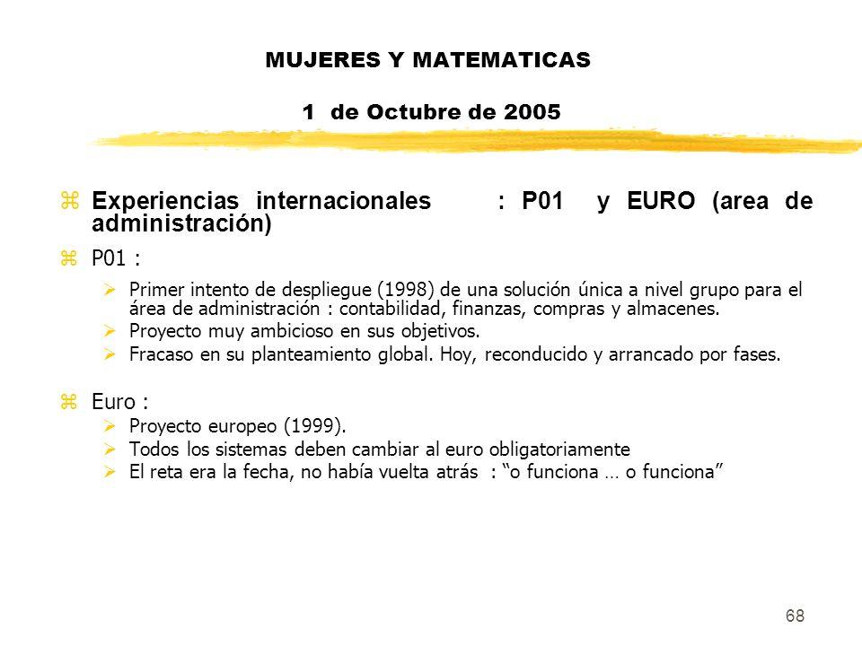 68 MUJERES Y MATEMATICAS 1 de Octubre de 2005 zExperiencias internacionales : P01 y EURO (area de administración) zP01 : Primer intento de despliegue