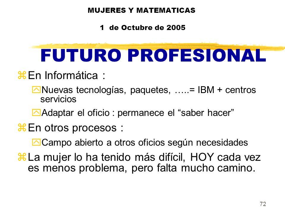 72 MUJERES Y MATEMATICAS 1 de Octubre de 2005 FUTURO PROFESIONAL zEn Informática : yNuevas tecnologías, paquetes, …..= IBM + centros servicios yAdapta