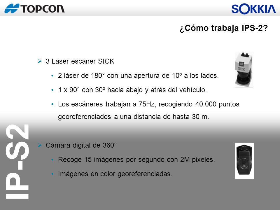 IP-S2 3 Laser escáner SICK 2 láser de 180° con una apertura de 10º a los lados. 1 x 90° con 30º hacia abajo y atrás del vehículo. Los escáneres trabaj