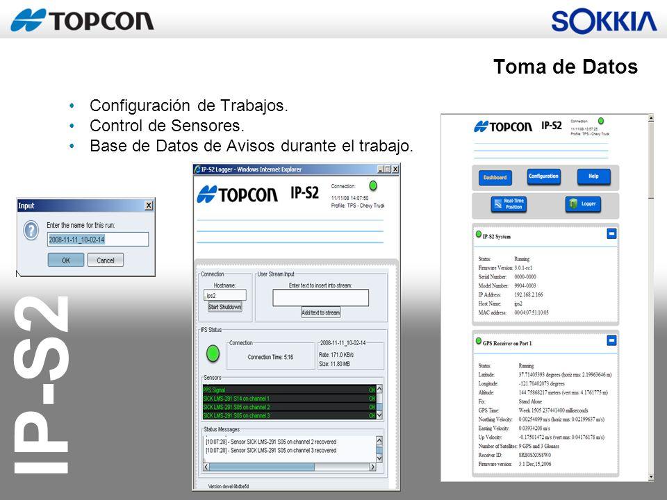 IP-S2 Configuración de Trabajos. Control de Sensores. Base de Datos de Avisos durante el trabajo. Toma de Datos