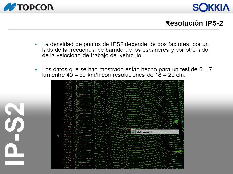 IP-S2 Resolución IPS-2 La densidad de puntos de IPS2 depende de dos factores, por un lado de la frecuencia de barrido de los escáneres y por otro lado