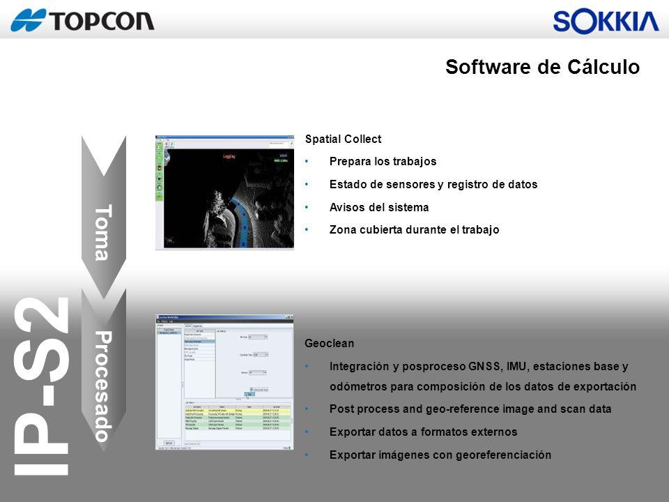 IP-S2 Toma Procesado Spatial Collect Prepara los trabajos Estado de sensores y registro de datos Avisos del sistema Zona cubierta durante el trabajo G