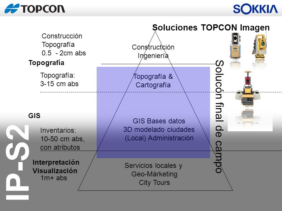 IP-S2 Soluciones TOPCON Imagen Interpretación Visualización GIS Topografía Servicios locales y Geo-Márketing City Tours GIS Bases datos 3D modelado ci