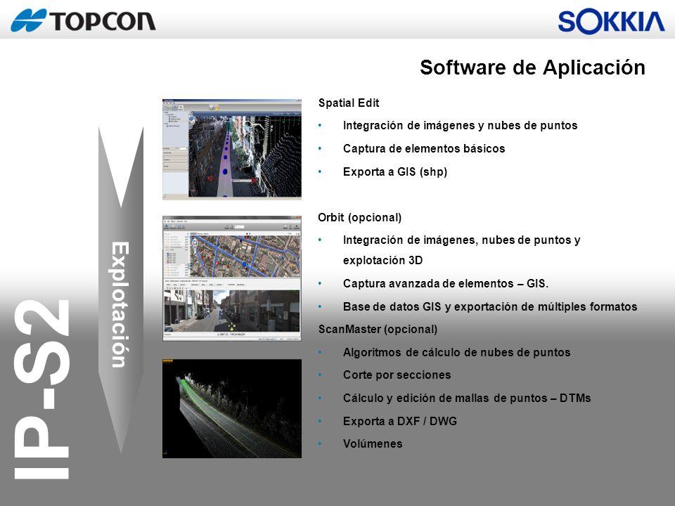 IP-S2 Explotación Spatial Edit Integración de imágenes y nubes de puntos Captura de elementos básicos Exporta a GIS (shp) Orbit (opcional) Integración