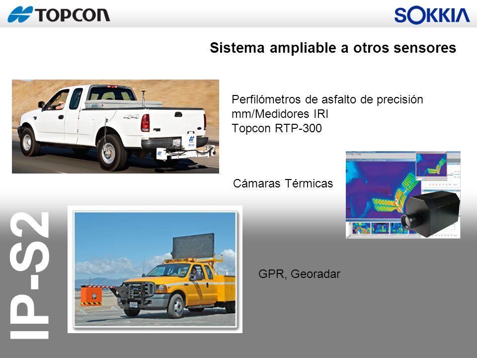 IP-S2 Perfilómetros de asfalto de precisión mm/Medidores IRI Topcon RTP-300 Cámaras Térmicas GPR, Georadar Sistema ampliable a otros sensores