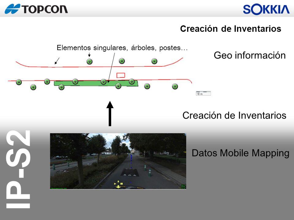 IP-S2 Creación de Inventarios Datos Mobile Mapping Elementos singulares, árboles, postes… Geo información Creación de Inventarios