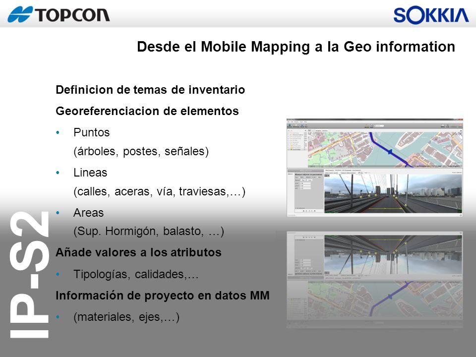 IP-S2 Desde el Mobile Mapping a la Geo information Definicion de temas de inventario Georeferenciacion de elementos Puntos (árboles, postes, señales)