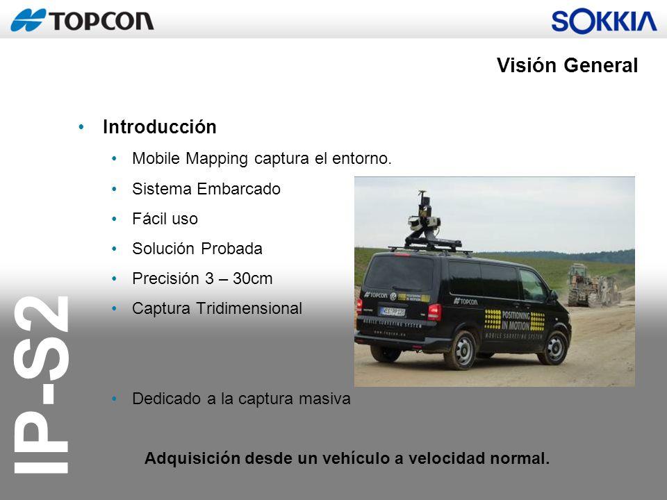 IP-S2 Visión General Introducción Mobile Mapping captura el entorno. Sistema Embarcado Fácil uso Solución Probada Precisión 3 – 30cm Captura Tridimens