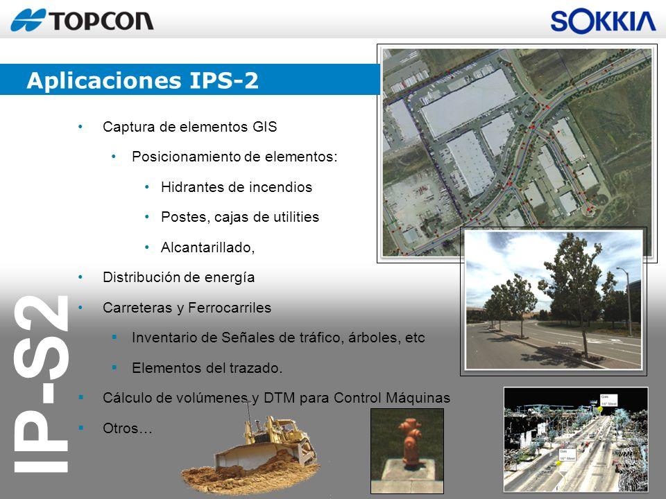 IP-S2 Captura de elementos GIS Posicionamiento de elementos: Hidrantes de incendios Postes, cajas de utilities Alcantarillado, Distribución de energía