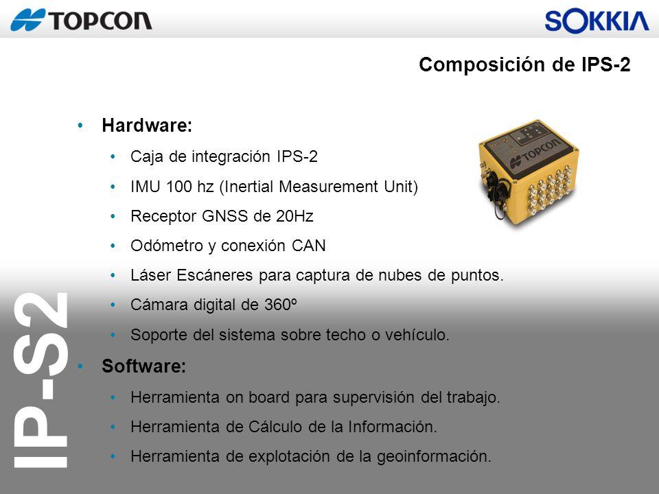 IP-S2 IP-S2 Compact: Múltiples configuraciones 360 º Cámara Digital Antena GNSS Laser Scanners IMU (Inertial Measurement Unit) Interface IPS2 de abordo, configuración y control de ejecución Odómetro para codificación de distancias
