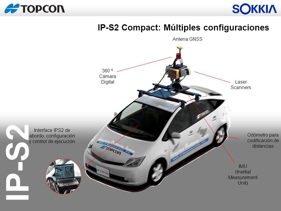 IP-S2 Antena GNSS PC Encoder rueda Distintas configuraciones de Cámara fijas y vídeo IMU Escáneres: Entre 0 y 6 Otros Dispositivos Composición Modular de IPS-2